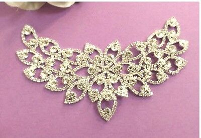 Below Cost Silver Diamante Motif Applique Bridal Dance Tutu  Lace Trim 1SR67B