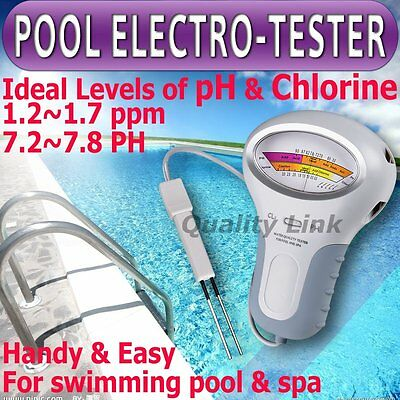 New pH & Cl2 Chlorine Level Tester Swimming Pool Water spa water quality monitor