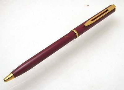 WATERMAN Brick Red Laque Gold Trim Ball Pen France Ballpoint