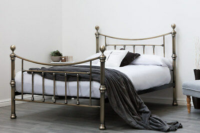 Luxury Stylish Brushed Antiqued Brass Metal Bed Frame Double / King Size