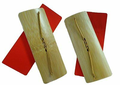 2 Pairs of Japanese Style Kachi Kachi Red Solid Bamboo Castanets, Made in Japan