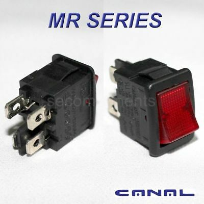 Canal MR Series Red Illuminated Rocker Switch Double Pole DPST 12 Amp 120 Volt