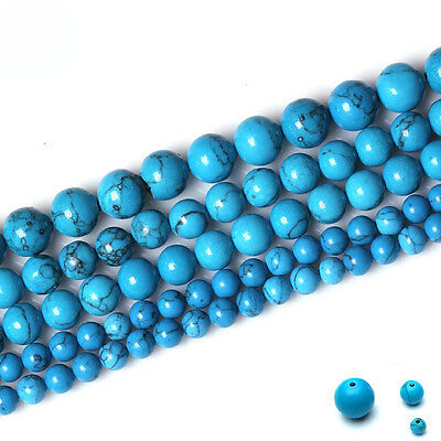Natural Blue Turquoise Round Gemstone Loose Spacer Beads Stone 4 6 8 10 12 mm