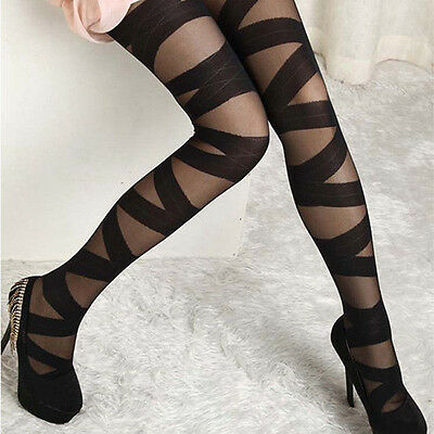 Women's Enticing Pantyhose Striped Hosiery Black Ripped Stretch Tights Stocking
