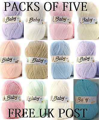 5 x 100g Baby Wool, Soft DK Double Knitting & Crochet Yarn, Woolcraft Babycare