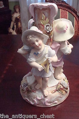 """Dresden Germany figural candle holder """"The Arts"""" painter, writer & music"""