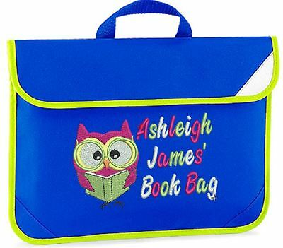 Personalised Embroidered Kids book bag for school- OWL reading design any name!