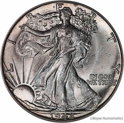 1942 50C Walking Liberty Half Dollar (RAW) BU - Brilliant Uncirculated