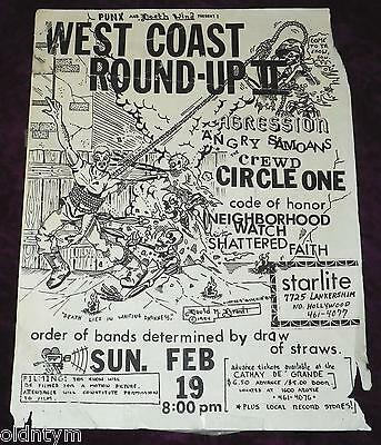 Rare 1984 Angry Samoans Flyer Agression Crewd Circle 1 West Coast Round-Up 2