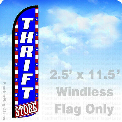 2.5x11.5 WINDLESS Swooper Feather Flag Banner Sign - THRIFT STORE bz