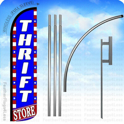 WINDLESS Swooper Feather Banner Sign Flag 15' KIT - THRIFT STORE bz