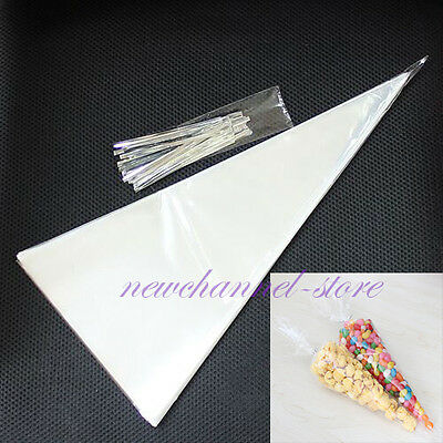 UK Seller New 100pcs Cone Cellophane Party Bag Cake Decorating Icing Piping Bags