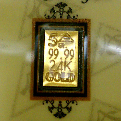 ACB GOLD 5GRAIN 24K SOLID GOLD BULLION MINTED BAR 99.99 FINE With CERTIFICATE. !