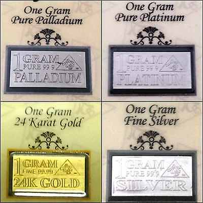 ACB Gold Silver Platinum Palladium 1 GRAM Combo Pack BULLION MINTED Bars COAs +