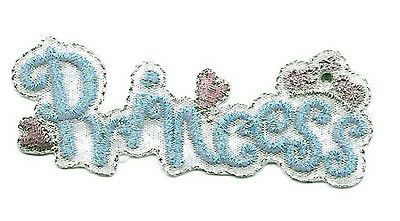 """PRINCESS"" Turquoise Blue Text Embroidered Iron On Applique Patch"