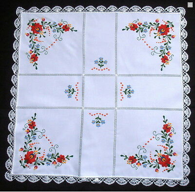 Hand embroidered authentic tablecloth Hungarian Matyo color square 90X90