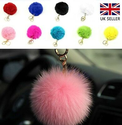 Elegant Very Soft Fluffy Rabbit Fur Ball Key Chain PomPom Handbag Car Key Ring