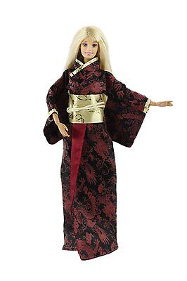 Traditional Japanese Kimono Costume clothes gown for Barbie Doll U01
