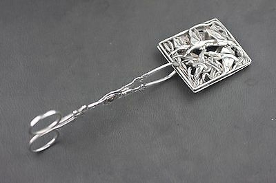 """Antique Vintage Solid Sterling Silver Geese Pastry Serving Tongs 8.25"""",106 Grams"""