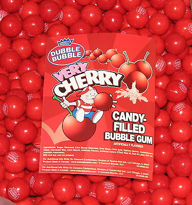Dubble Bubble VERY CHERRY 1/2 pound  bulk bag 1 inch gumballs 22 pieces