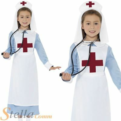 Girls WW1 Nurse Costume Uniform Wartime War Fancy Dress Book Week Outfit