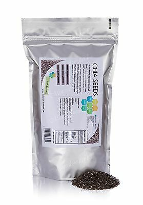 1000g Chia Seeds•Dark Raw•100% GMO Free•Vitamin•Energy•Detox•Weight loss•Omega3
