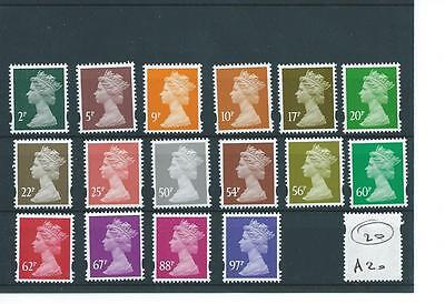 MACHIN DEFINITIVES -A20- 16 VALUES - 2p to 97p elliptical perf - UNMOUNTED MINT