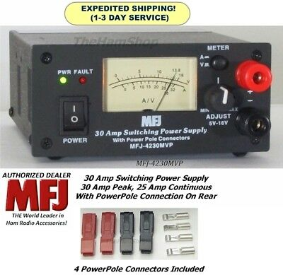 MFJ 4230MVP 30 AMP Switching Power Supply With Meter, 4-16 Volts & Power Poles