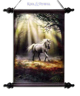 """Anne Stokes Wall Art Scroll: """"Glimpse of a Unicorn"""" White Unicorn in Forest"""