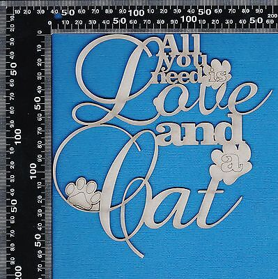 Chipboard A2Z Scraplets All you need is Love and a Cat Phrase