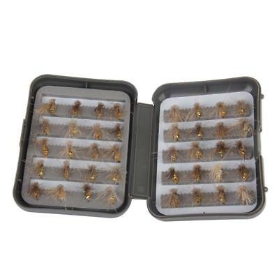 40pcs Dry Fly Flies Hooks Trout Fishing Lures Baits with Waterproof Box