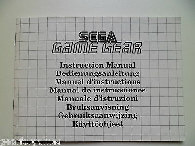 Sega Game Gear Console Manual Instructions Booklet