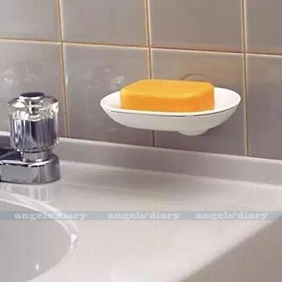 Plastic Wall Soap Holder Dish Tray Bathroom Shower Cup Strong Suction Beige