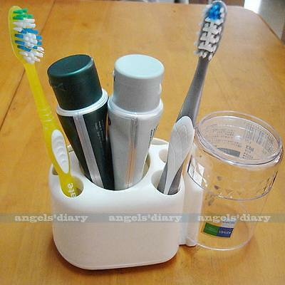Toothbrush Holder Toothpaste Container Cup Tidy Bathroom Tool Rack Free Stand