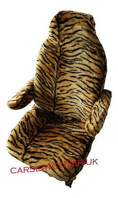 Fiat Ducato Motorhome Seat Covers - Gold Tiger Faux Fur + Armrest Covers