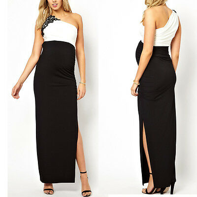 Maternity Evening Cocktail party Dress wedding xmas Black/ White OR Black/Pink