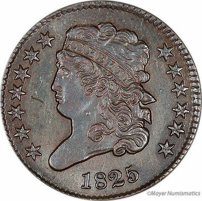 1825 1/2C Classic Head Half Cent (RAW) AU - About Uncirculated