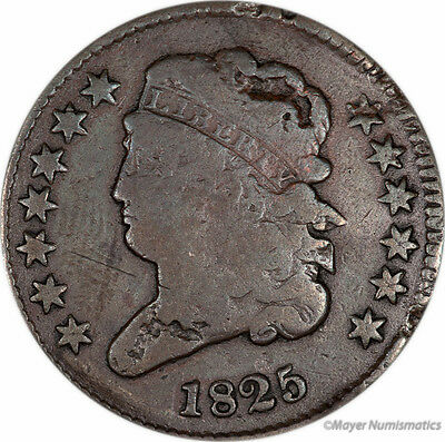 1825 1/2C Classic Head Half Cent (RAW) VG - Very Good