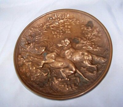 Vintage Bronze Metal Round Wall Plaque w Hunting Dogs in Relief