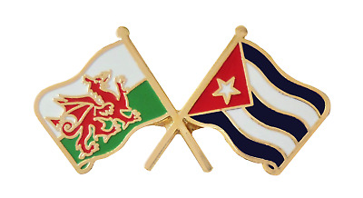 Cuba Flag & Wales Flag Friendship Courtesy Pin Badge - T1066