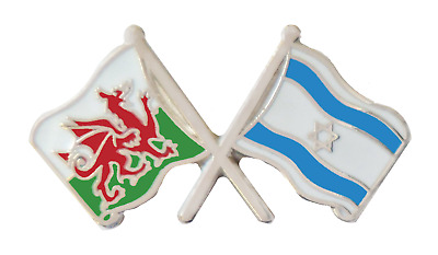 Israel Flag & Wales Flag Friendship Courtesy Pin Badge - T458