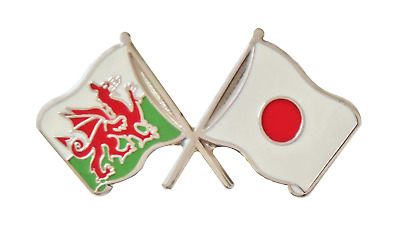 Japan Flag & Wales Flag Friendship Courtesy Pin Badge - T235