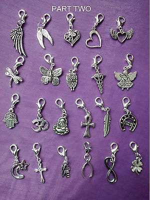 PART 2 - QUALITY Clip On Silver CHARMS GOOD LUCK Keyring Purse Bag Bracelet Zip