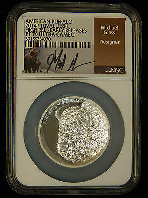 2014P Tuvalu S$1 American Buffalo High Relief-Early Release NGC PF70 Ultra Cameo