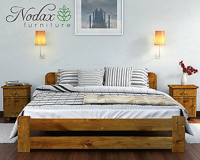 Wooden Furniture Solid Pine Bed Frame 4ft UK Size – 4 Colours - ONE