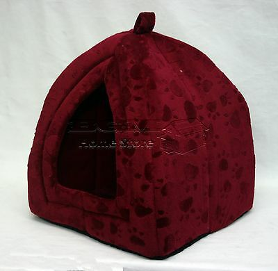Folding Luxury Pet House Bed Cat Dog Kitten Warm Fleece Igloo Soft Cave Red