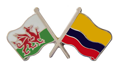 Colombia Flag & Wales Flag Friendship Courtesy Pin Badge - T1074