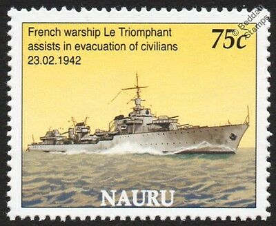 WWII LE TRIOMPHANT Fantasque Class Destroyer French Navy Warship Stamp