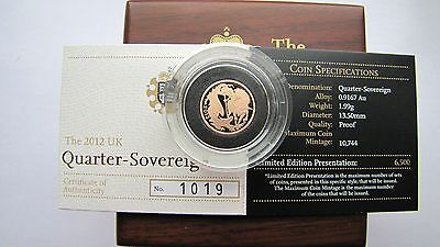 The 2012 Quarter Sovereign Proof Gold # 1019