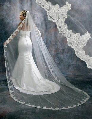 White Ivory Cathedral 1 Tier Wedding Veil Lace Purfle 3 meter Long With Comb